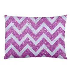 Chevron9 White Marble & Purple Glitter Pillow Case (two Sides)