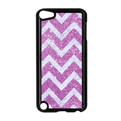 Chevron9 White Marble & Purple Glitter Apple Ipod Touch 5 Case (black)