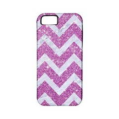 Chevron9 White Marble & Purple Glitter Apple Iphone 5 Classic Hardshell Case (pc+silicone)