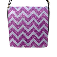 Chevron9 White Marble & Purple Glitter Flap Messenger Bag (l)