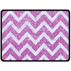 Chevron9 White Marble & Purple Glitter Double Sided Fleece Blanket (large)