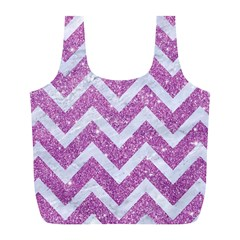 Chevron9 White Marble & Purple Glitter Full Print Recycle Bags (l)  by trendistuff