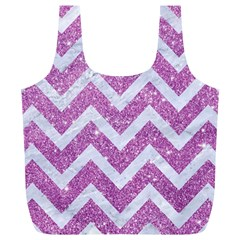 Chevron9 White Marble & Purple Glitter Full Print Recycle Bags (l)