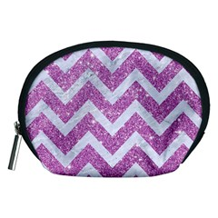 Chevron9 White Marble & Purple Glitter Accessory Pouches (medium)  by trendistuff