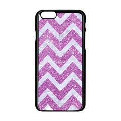 Chevron9 White Marble & Purple Glitter Apple Iphone 6/6s Black Enamel Case