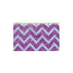 Chevron9 White Marble & Purple Glitter Cosmetic Bag (xs) by trendistuff