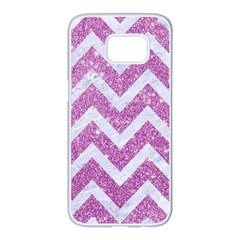 Chevron9 White Marble & Purple Glitter Samsung Galaxy S7 Edge White Seamless Case