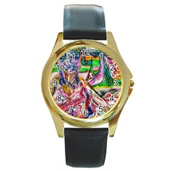 Budha Denied The Shine Of The World Round Gold Metal Watch