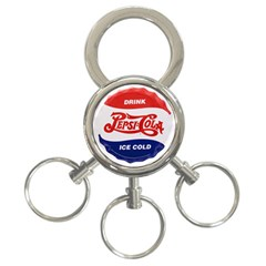 Pepsi Cola Bottle Cap Style Metal 3 Ring Key Chains by Samandel