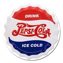 Pepsi Cola Bottle Cap Style Metal Magnet 5  (round)
