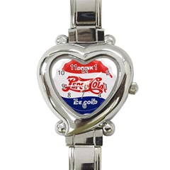 Pepsi Cola Bottle Cap Style Metal Heart Italian Charm Watch