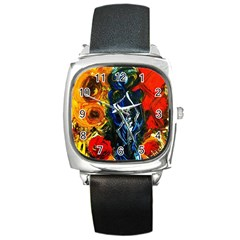 1 Butterfly 1 Square Metal Watch
