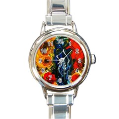 1 Butterfly 1 Round Italian Charm Watch
