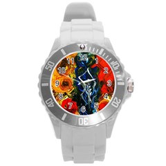 1 Butterfly 1 Round Plastic Sport Watch (l)