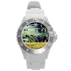 Hidden Strings Of Purity 9 Round Plastic Sport Watch (l)