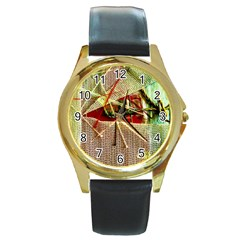Hidden Strings Of Purity 12 Round Gold Metal Watch