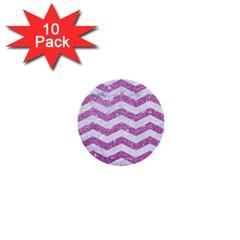 Chevron3 White Marble & Purple Glitter 1  Mini Buttons (10 Pack)