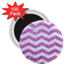 Chevron3 White Marble & Purple Glitter 2 25  Magnets (100 Pack)