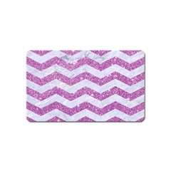 Chevron3 White Marble & Purple Glitter Magnet (name Card)