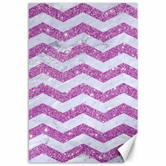 Chevron3 White Marble & Purple Glitter Canvas 12  X 18