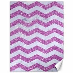 Chevron3 White Marble & Purple Glitter Canvas 36  X 48