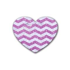 Chevron3 White Marble & Purple Glitter Rubber Coaster (heart)