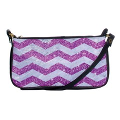 Chevron3 White Marble & Purple Glitter Shoulder Clutch Bags