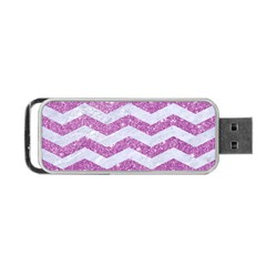 Chevron3 White Marble & Purple Glitter Portable Usb Flash (two Sides) by trendistuff