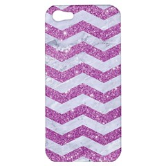 Chevron3 White Marble & Purple Glitter Apple Iphone 5 Hardshell Case