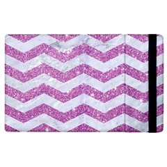 Chevron3 White Marble & Purple Glitter Apple Ipad 2 Flip Case by trendistuff