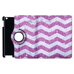 Chevron3 White Marble & Purple Glitter Apple Ipad 2 Flip 360 Case by trendistuff