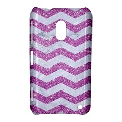 Chevron3 White Marble & Purple Glitter Nokia Lumia 620