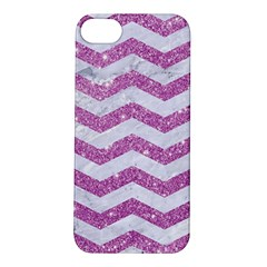 Chevron3 White Marble & Purple Glitter Apple Iphone 5s/ Se Hardshell Case