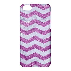 Chevron3 White Marble & Purple Glitter Apple Iphone 5c Hardshell Case