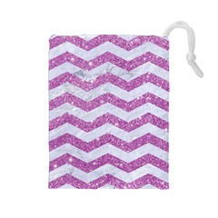 Chevron3 White Marble & Purple Glitter Drawstring Pouches (large)