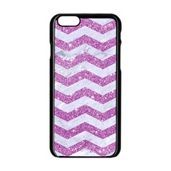 Chevron3 White Marble & Purple Glitter Apple Iphone 6/6s Black Enamel Case