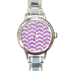 Chevron2 White Marble & Purple Glitter Round Italian Charm Watch