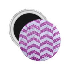 Chevron2 White Marble & Purple Glitter 2 25  Magnets