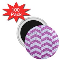 Chevron2 White Marble & Purple Glitter 1 75  Magnets (100 Pack)