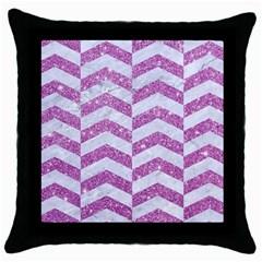 Chevron2 White Marble & Purple Glitter Throw Pillow Case (black)