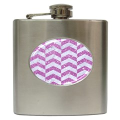 Chevron2 White Marble & Purple Glitter Hip Flask (6 Oz)