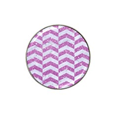 Chevron2 White Marble & Purple Glitter Hat Clip Ball Marker (10 Pack)