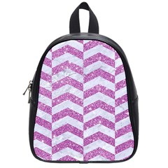 Chevron2 White Marble & Purple Glitter School Bag (small)