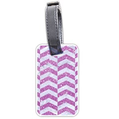 Chevron2 White Marble & Purple Glitter Luggage Tags (one Side)  by trendistuff