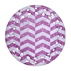Chevron2 White Marble & Purple Glitter Ornament (round Filigree)
