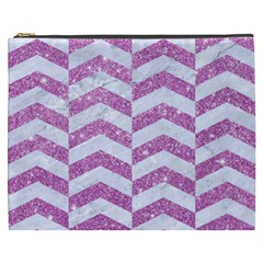 Chevron2 White Marble & Purple Glitter Cosmetic Bag (xxxl)