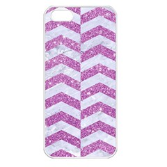 Chevron2 White Marble & Purple Glitter Apple Iphone 5 Seamless Case (white)