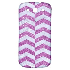Chevron2 White Marble & Purple Glitter Samsung Galaxy S3 S Iii Classic Hardshell Back Case