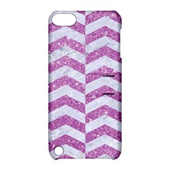 Chevron2 White Marble & Purple Glitter Apple Ipod Touch 5 Hardshell Case With Stand