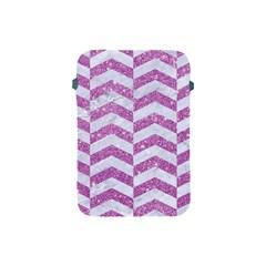 Chevron2 White Marble & Purple Glitter Apple Ipad Mini Protective Soft Cases